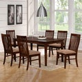 Bewdley Walnut Slat Back Cushioned Casual 7-piece Dining Set