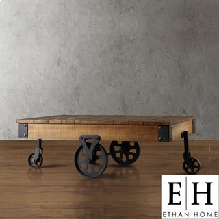 ETHAN HOME Myra Vintage Industrial Modern Rustic Cocktail Table