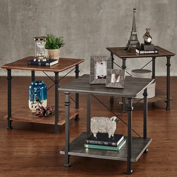 TRIBECCA HOME Myra Vintage Industrial Modern Rustic End Table