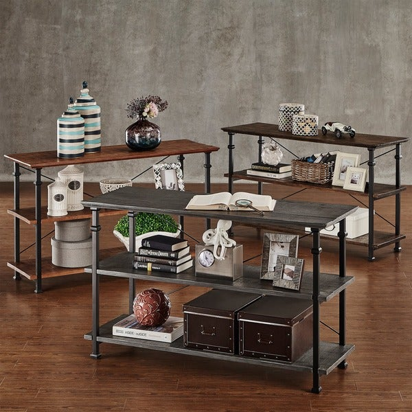 Tribecca Home Myra Vintage Industrial Modern Rustic 3 Piece Tv Stand