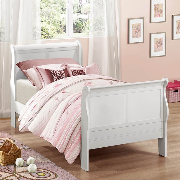 TRIBECCA HOME Canterbury Louis Phillip White Twin-size Sleigh Bed