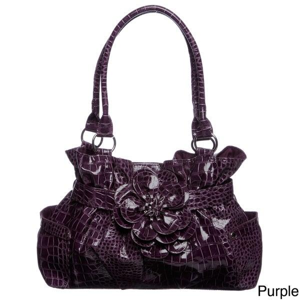 Valencia Croco Embossed Belted Flower Shopper Bag