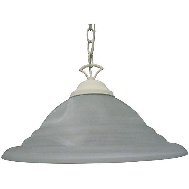 One Light Textured White Pendant