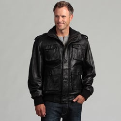 Tanners Avenue Men's Black Lambskin Leather Bomber Jacket