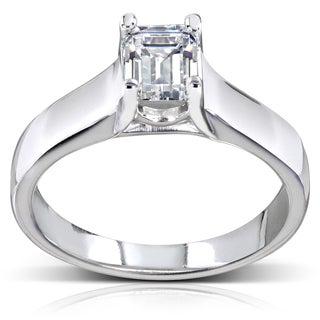 Annello 14k White Gold 1ct TDW Emerald Cut Solitaire Diamond Ring (H-I, SI1-SI2) with Bonus Item