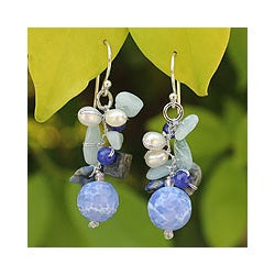 Sterling Silver Blue Multi-gemstone and 4mm Pearl Earrings (Thailand)