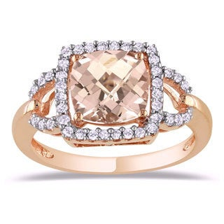 Miadora 10k Pink Gold 2-1/4ct Morganite and 1/5ct TDW Diamond Ring (H-I, I2-I3)