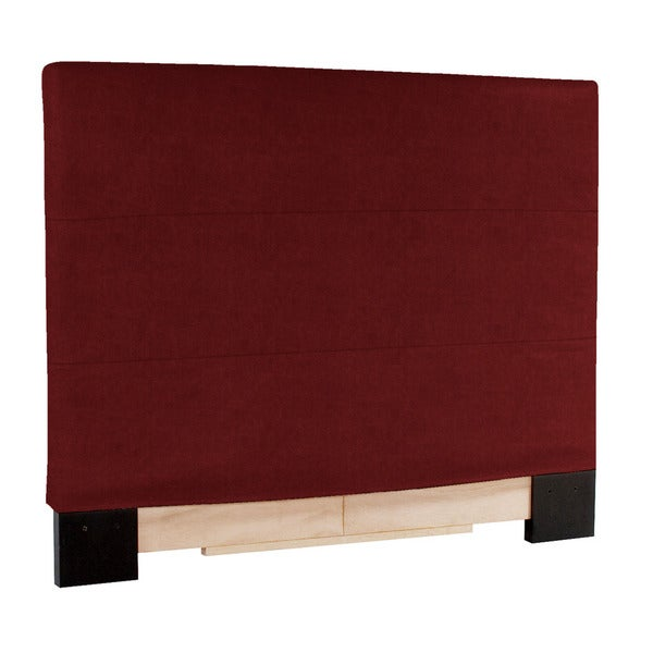 Slip-covered Full/ Queen Red Faux Leather Headboard