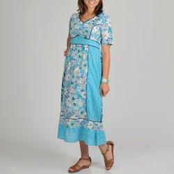 La Cera Women's Plus Size Floral Print Short Sleeve Dress