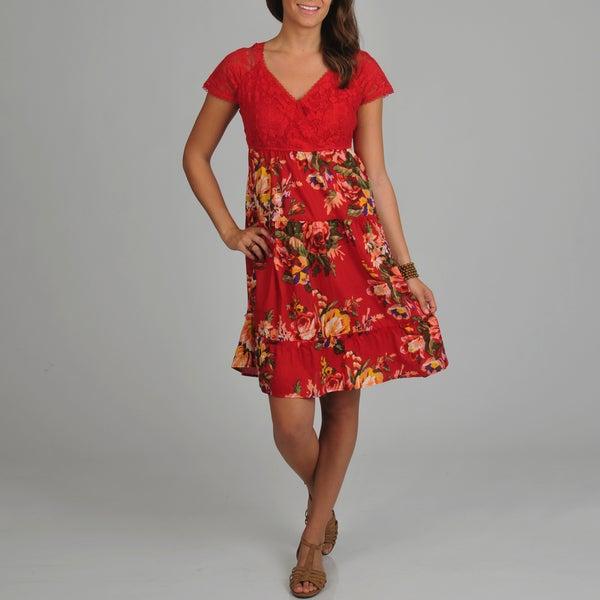 La Cera Women's Solid Lace Bodice with Floral Print Bottom Short Dress