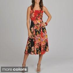 La Cera Women's Floral Print Smocked Top Maxi Dress