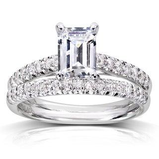 Annello 14k White Gold 1 1/3ct TDW Emerald Cut Diamond Solitaire Bridal Set (H-I, SI1-SI2)