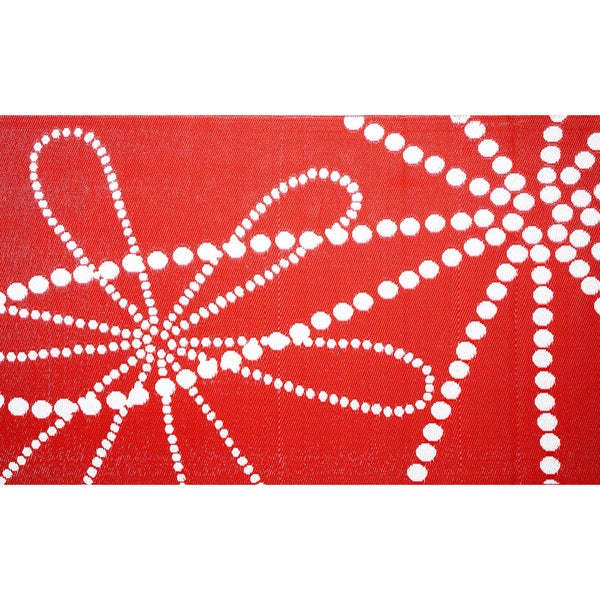 b.b.begonia Galaxy Reversible Design Red and White Outdoor Area Rug (4' x 6')