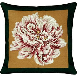 Peony Black and Gold Needlepoint Pillow