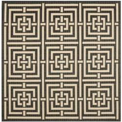 Safavieh Poolside Black/ Bone Indoor/ Outdoor Rug (6'7 Square)