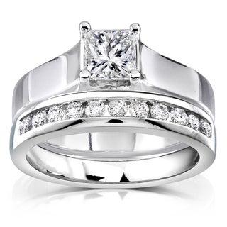 Annello 14k White Gold 7/8ct TDW Diamond Bridal Ring Set (H-I, SI1-SI2)