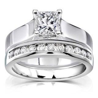 Annello 14k White Gold 1ct TDW Diamond Bridal Ring Set (H-I, SI1-SI2)