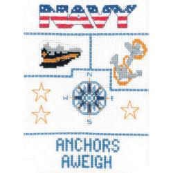 """Navy Sampler Mini Counted Cross Stitch Kit-5""""X7"""" 14 Count"""