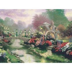 Thomas Kinkade Lamplight Bridge Embellished Cross Stitch Kit
