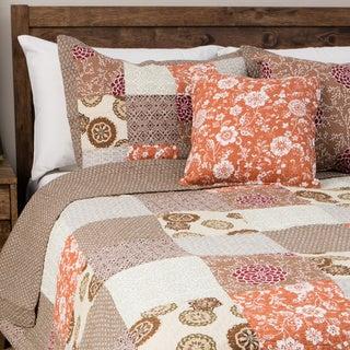Oversized Stella Multicolor 100-percent Cotton 3-piece Patchwork Quilt Set