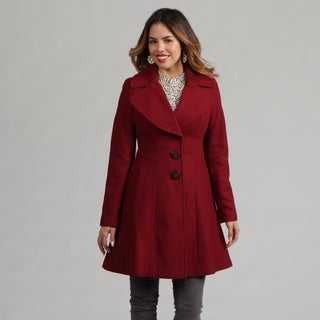 Jessica Simpson Women's Claret Red Peacoat