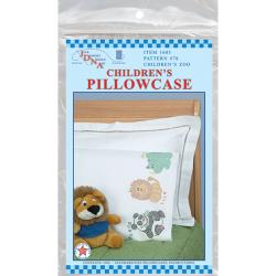 Children's Stamped Pillowcase With White Perle Edge 1/Pkg-Children's Zoo