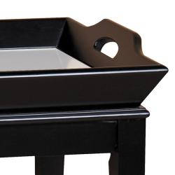 Espresso Brown Mirrored Tray Table