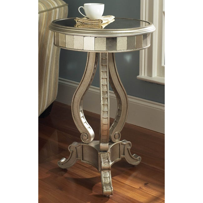 Hand Painted Silver Mirrored Accent Pedestal Table Overstock Shopping Great Deals On Coffee