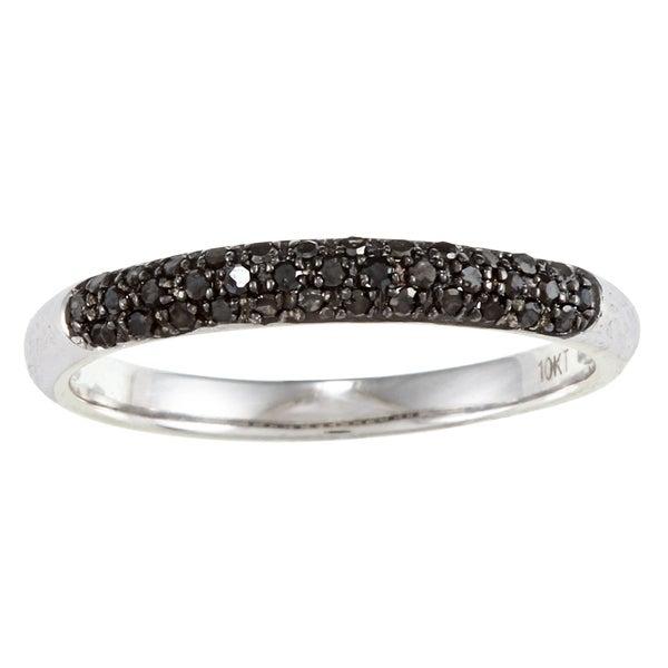 10k White Gold 1/5 TDW Black Diamond Ring (G-H, I1-I2)