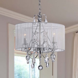 Maury White Cotton Thread and Chrome Crystal Chandelier