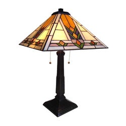 Tiffany Style Mission Design 2 Light Table Lamp