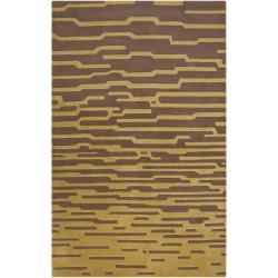 Harlequin Hand-tufted 'Diego Martin' Brown Geometric Plush Wool Rug (9' x 12')