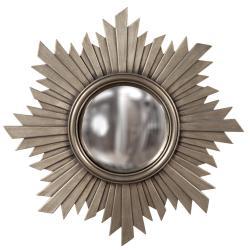 Convex Brushed Aged Nickel Mirror