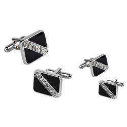 INSTEN Black Square Six Jewel Cufflinks (Set of 2)