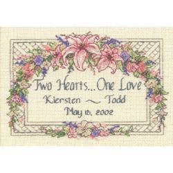 "One Love Wedding Record Mini Counted Cross Stitch Kit-7""X5"""