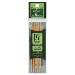 "Bamboo Double Point Knitting Needles 5"" 5/Pkg-Size 8"