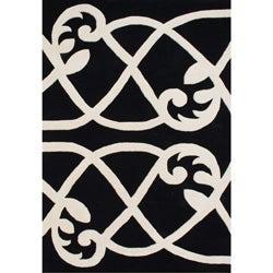 Alliyah Handmade Jet Black New Zealand Blend Wool Rug (8' x 10')