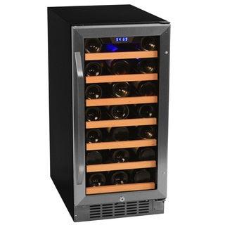 EdgeStar Stainless Steel/ Black 30-Bottle Built-In Wine Cooler