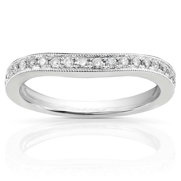 Annello 14k White Gold 1/5ct TDW Diamond Curved Wedding Band (H-I, I1-I2)