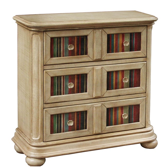 Hand-painted Distressed Beige Accent Chest