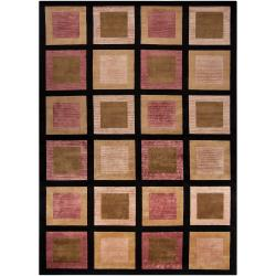 Hand-knotted Multicolored La Crosse Geometric Semi-Worsted Geometric Squares Wool Rug (9' x 13')