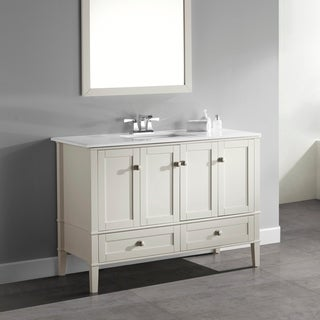 Windham Soft White 48-inch Bath Vanity with 2 Doors, Bottom Drawer and White Quartz Marble Top