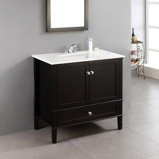 WYNDENHALL Windham Black 36-inch Bath Vanity with 2 Doors, Bottom Drawer and White Quartz Marble Top
