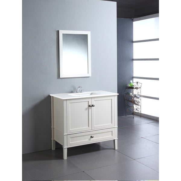 36 inch bath vanity with 2 doors bottom drawer and white quartz