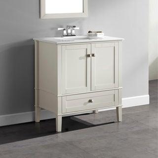 WYNDENHALL Windham Soft White 30-inch Bath Vanity with 2 Doors, Bottom Drawer and White Quartz Marble Top
