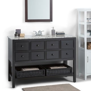New Haven Espresso Brown 48-inch Bath Vanity with 2 Drawers and Dappled Grey Granite Top