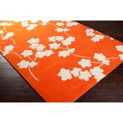 Jill Rosenwald Hand-tufted Orange Reelan Floral Wool Rug (8' x 11')