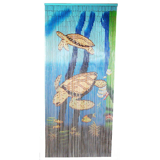 Hand-crafted Sea Turtle Scene Painted Bamboo Curtain (Vietnam)
