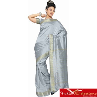 Gray Fabric Sari / Saree with Golden Border (India)
