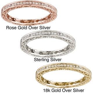 Icz Stonez Sterling Silver CZ 3/4ct TGW Eternity Wedding Ring